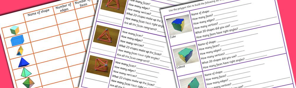 Maths 3D Shape Properties Worksheets