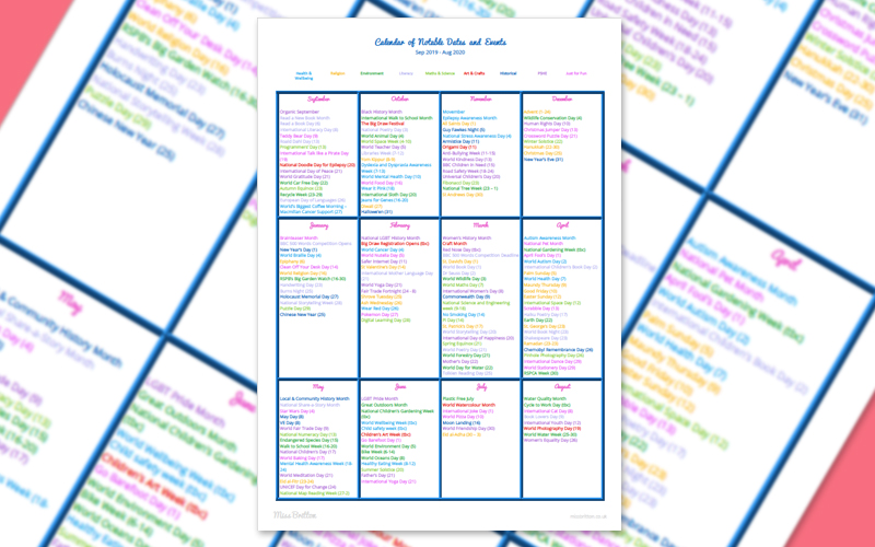 2019 2020 Teaching Calendar of Notable Events Listing