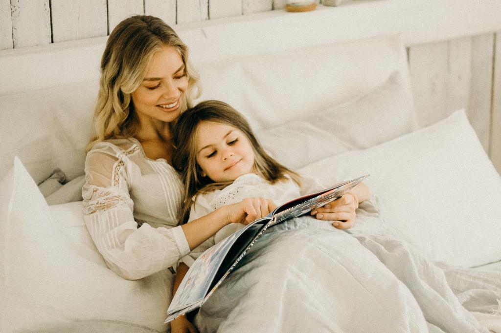 mum daughter reading